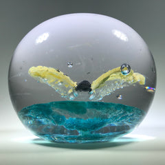 Rare Vintage Charles Degenhart Art Glass Paperweight Encased Yellow Butterfly