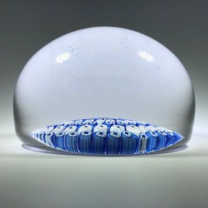 Vintage Whitefriars Art Glass Paperweight Concentric Blue & White Millefiori