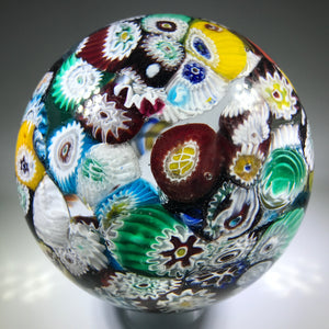 Mid 20th Century Murano Art Glass Paperweight Millefiori Scramble