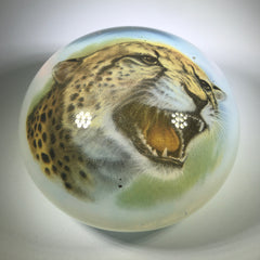 Huge Vintage Murano Art Glass Paperweight Detailed Encased Cheetah Image