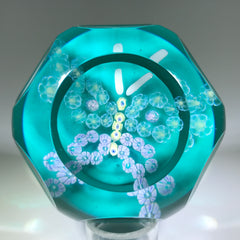 Vintage Pairpoint Faceted Art Glass Paperweight Millefiori Butterfly Blue Ground