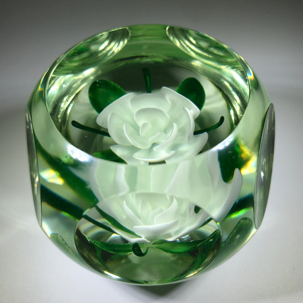 Vintage Pairpoint Art Glass Paperweight Faceted White Crimp Rose MMA Edition
