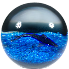 William Manson Caithness Art Glass Paperweight Lampwork Blue Aventurine Dolphin
