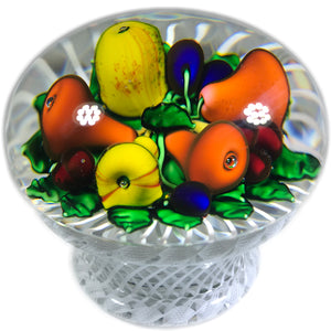 Limited Edition Saint Louis Art Glass Paperweight Lampwork Basket of Fruit Piedouche