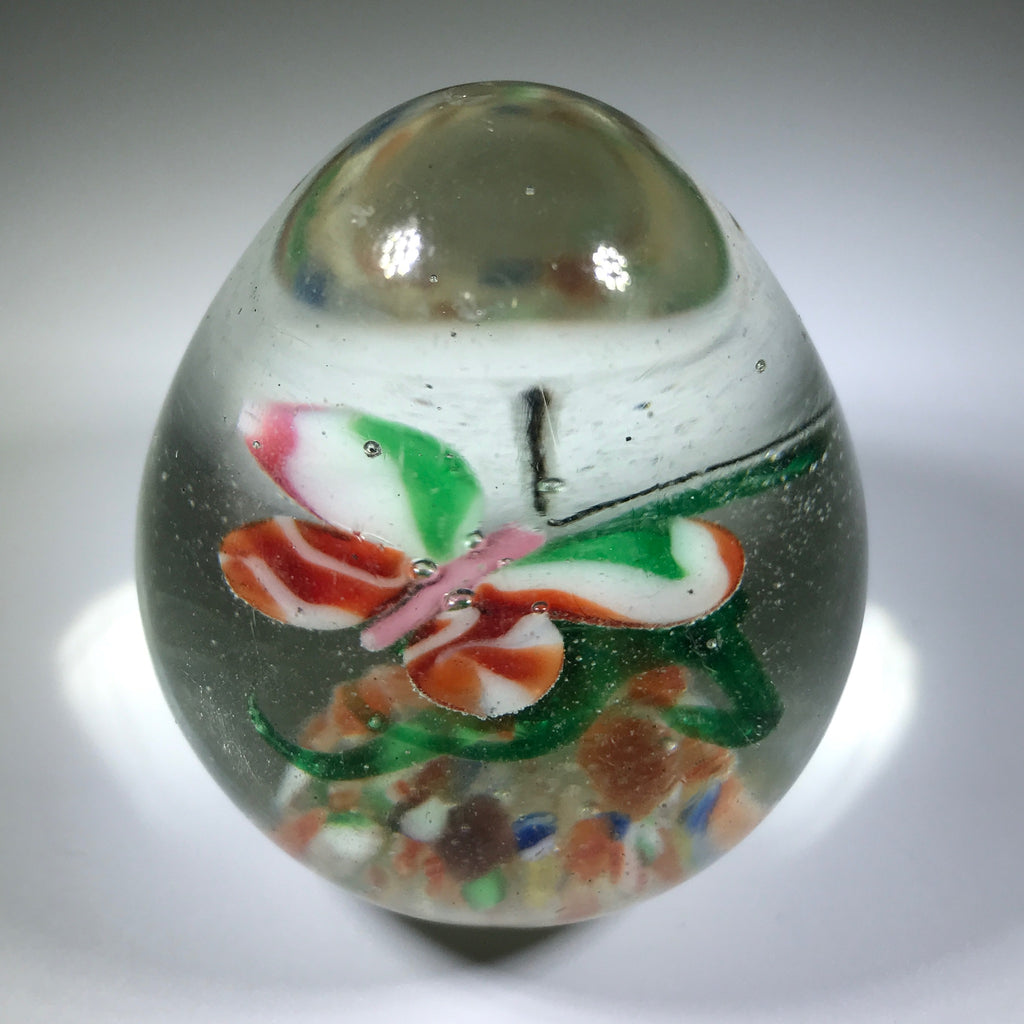Early 20th Century Chinese Art Glass Egg Paperweight Lampwork Butterfly