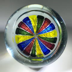 Vintage Murano Art Glass Paperweight Colorful Metallic Crown
