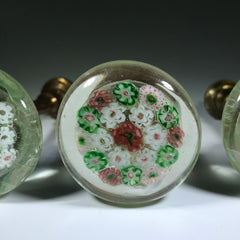 Early 20th Century Chinese Art Glass Millefiori Paperweight Style Curtain Holdbacks Set of 3