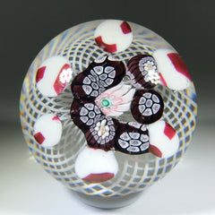 Antique New England Glass Co. NEGC Art Glass Paperweight Rare Patterned Millefiori on Basket