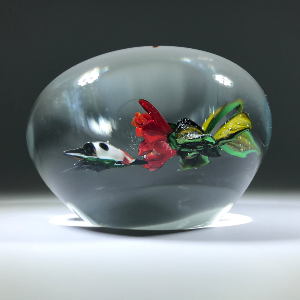 Signed Rick Ayotte Art Glass Paperweight Lampwork Hummingbird Feeding at Red Blossoms