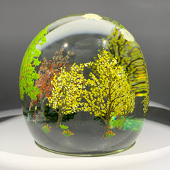 "Contemporary Alison Ruzsa Art Glass Paperweight Encapsulated Hand Painted"" Yellow, Yellow"""