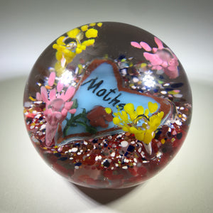 "Vintage Degenhart Art Glass Paperweight ""Mother"" Rose Painted Heart Plaque"