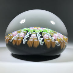 Vintage Perthshire Art Glass Paperweight Paneled Millefiori & Ribbon Twists PP2