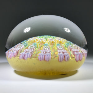 Vintage Perthshire Art Glass Paperweight Paneled Millefiori & Ribbon Twists Yellow PP2