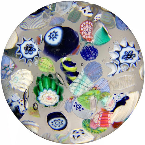 Antique New England Glass Co. Art Glass Paperweight Millefiori Scramble w/ Rare 1852 Date Canes
