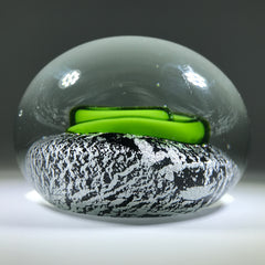 Contemporary Chinese Art Glass Paperweight lampwork Green Coil on Silver Ground