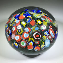 Antique late Period Riedel Art Glass Paperweight Closepack Millefiori on Green Ground