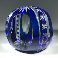 20th Century Val St Lambert Art Glass Paperweight Fancy Faceted Blue Flash Overlay