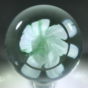 Unsigned Robert Hamon Art Glass Paperweight Pastel Green Crimp Rose Stye Flower