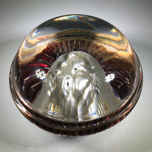 Antique European Art Glass Paperweight Intaglio Dog With Ruby Embellishment
