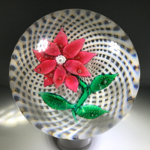 Antique NEGC New England Glass Co. Art Glass Paperweight Lampwork Poinsettia on Filigree