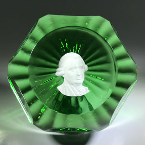 Vintage Robert Hamon Art Glass Paperweight George Washington Sulphide on Green