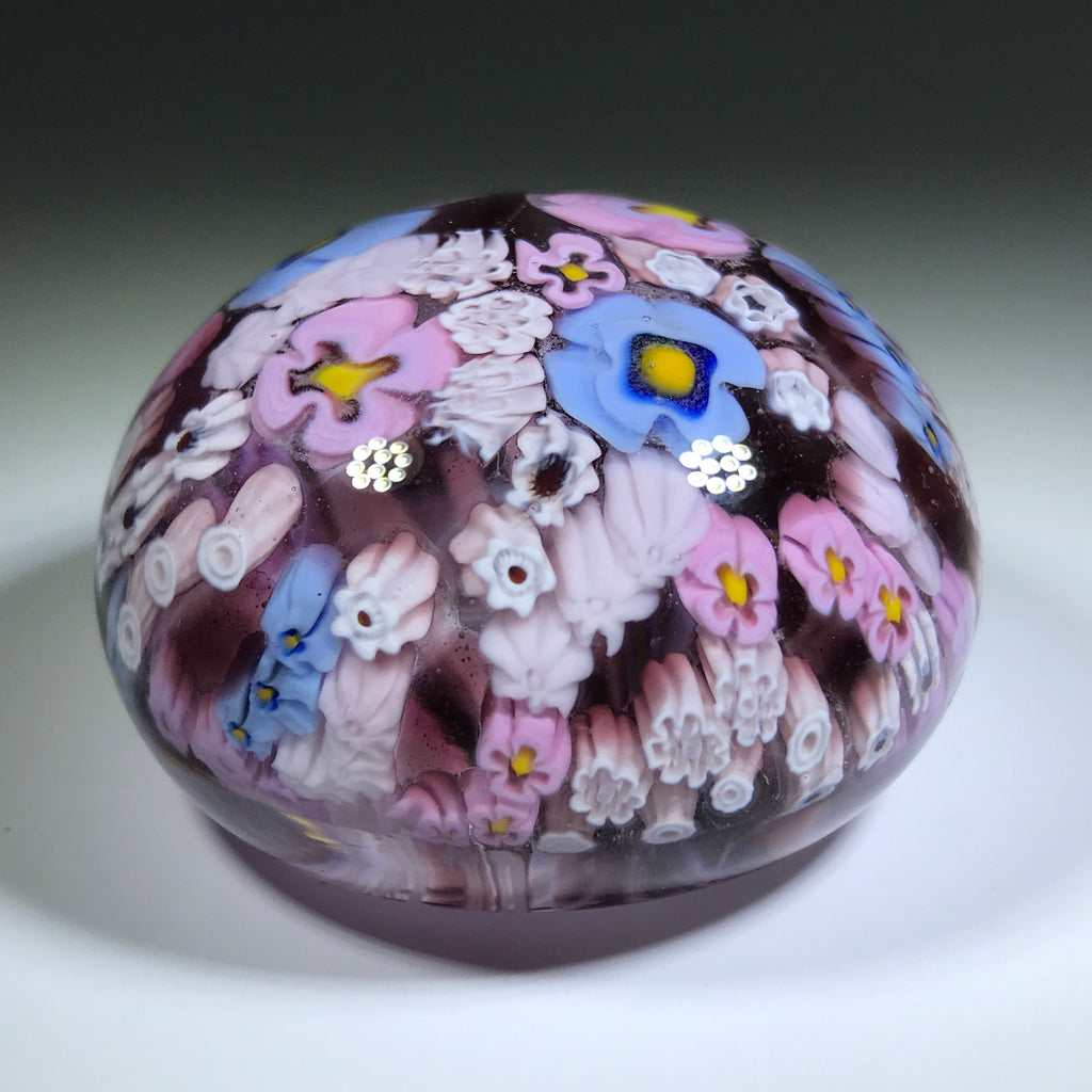 Vintage Murano Antica Murrina Art Glass Paperweight Patterned Floral Millefiori