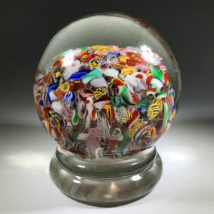 Early Chinese Art Glass Paperweight Rare Footed End of Day Millefiori Scramble