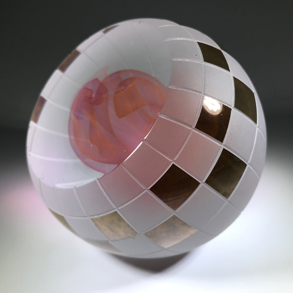 Signed Youghiogheny Art Glass Paperweight Cold Worked Pink Folded Veil