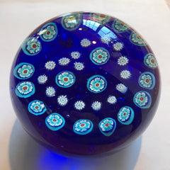 Vintage Gentile Art Glass Paperweight Patterned Millefiori Heart Garland