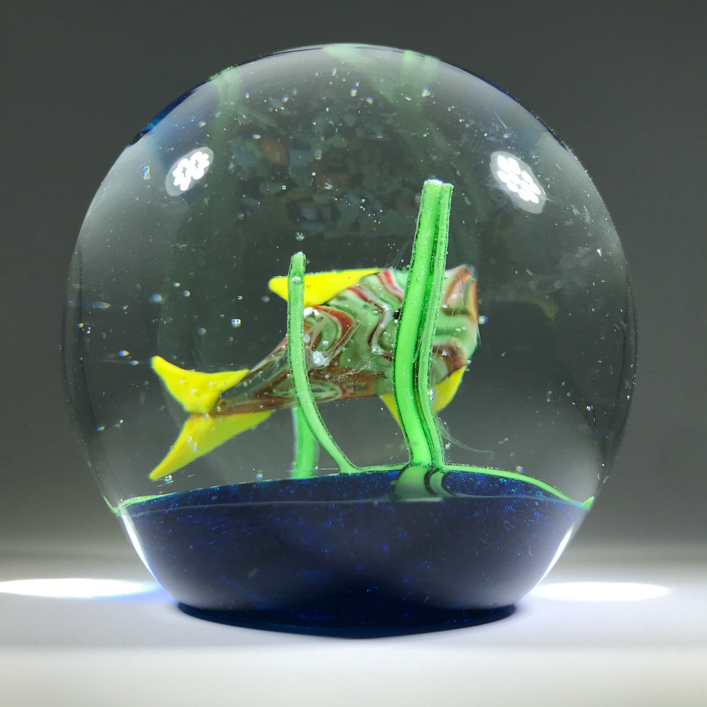 Contemporary Chinese Possibly Murano Art Glass Paperweight Lampwork Tropical fish