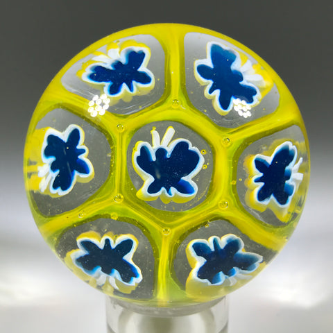 Modern Murano House of Goebel Art Glass Paperweight Blue & Yellow Butterfly Millefiori