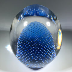 Vintage Czech Art Glass Paperweight Modern Blue Control Bubble Design