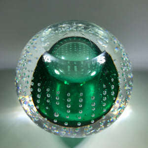 Signed Adam Jablonski Art Glass Paperweight Modern Polish Green Control Bubbles