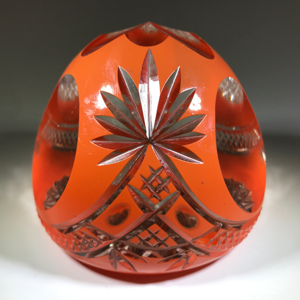 20th Century Val St Lambert Art Glass Paperweight Fancy Faceted Orange Overlay