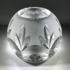 20th Century Val St Lambert Art Glass Paperweight Fancy Faceted Frosted Surface