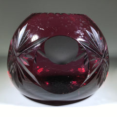 20th Century Val St Lambert Art Glass Paperweight Fancy Faceted Amethyst Flash Overlay