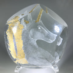 Contemporary French Art Glass Paperweight Hand Engraved Unicorn