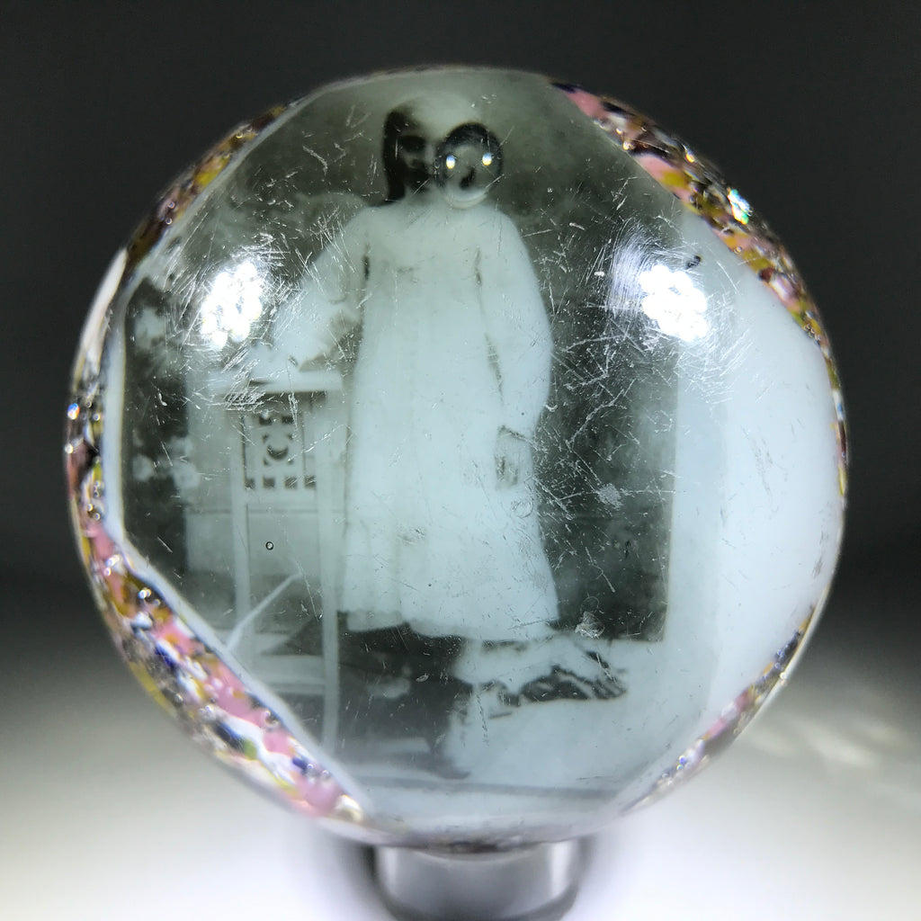 Antique American Art Glass Paperweight Black and White Photo Plaque