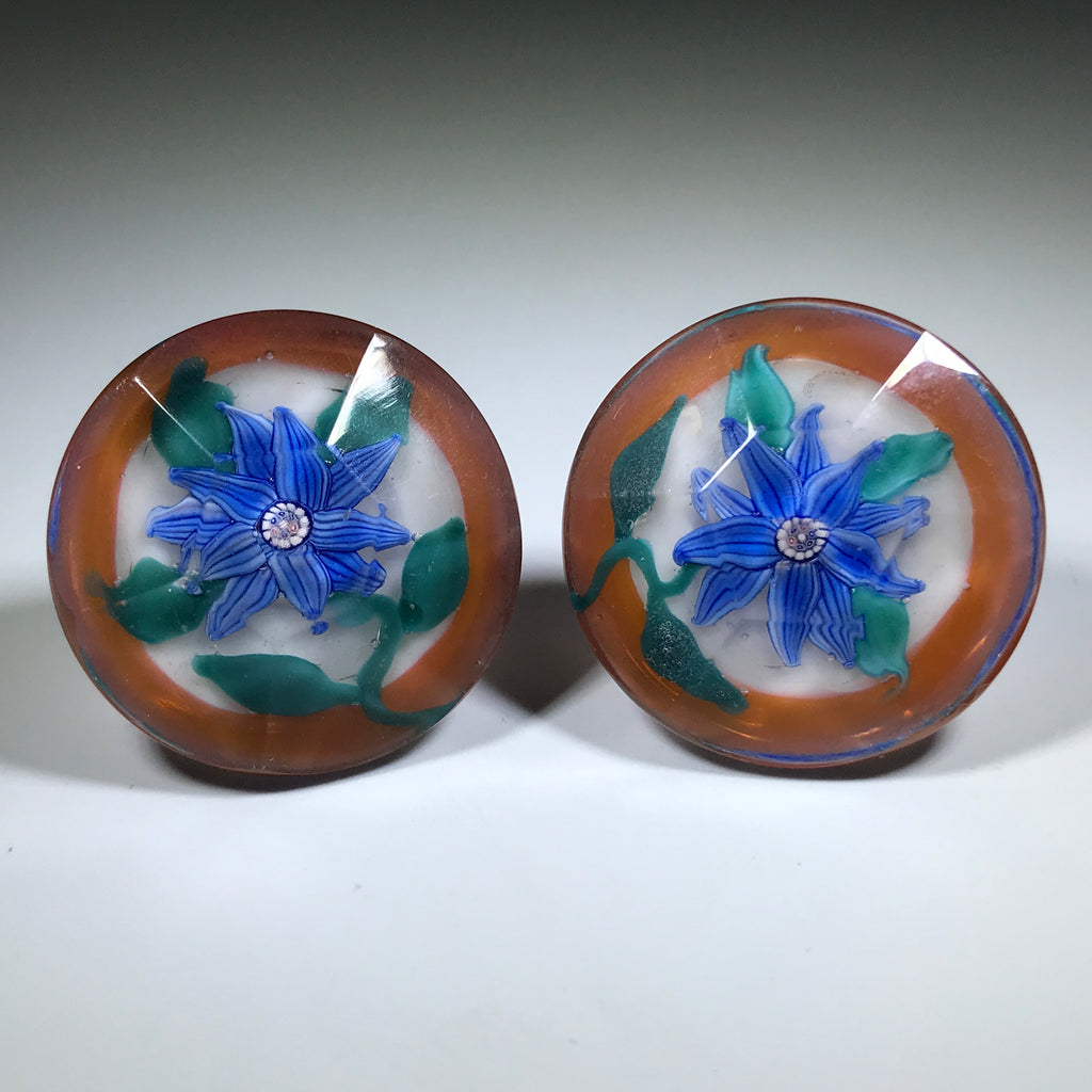 Vintage North American Art Glass Paperweight Cufflinks Lampwork Flowers w/ Millefiori