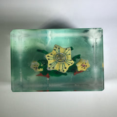 Early 1930s Chinese Art Glass Paperweight Sulphide Flowers In A Tree Faceted Block