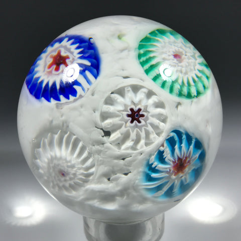 Vintage Murano Art Glass Paperweight Spaced Millefiori on White Ground