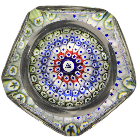 "Whitefriars 1970 ""Mayflower"" W/ Concentric Complex Millefiori Art Glass Paperweight"