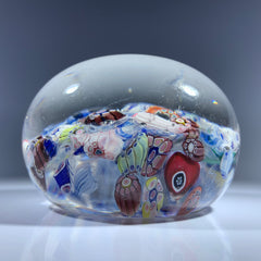 Antique New England Glass Co. NEGC Millefiori End of Day Scramble Glass Paperweight