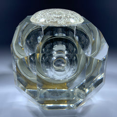 Antique Faceted Cut Glass Inkwell with Applied Flower Sulphide