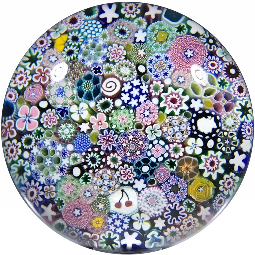Large Damon MacNaught Art Glass Paperweight Closepack Millefiori with Silhouette Canes