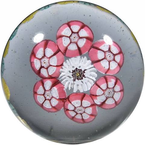 Antique St Mande Art Glass Paperweight Two Row Open Concentric Complex Millefiori