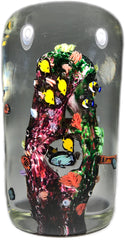 Jesse Taj 2005 Art Glass Paperweight Sculpture Large Coral Reef with  Murrine Fish & Turtle