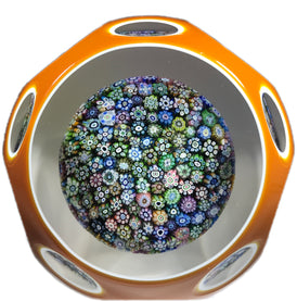 Perthshire Art Glass Paperweight Closepack complex Millefiori with Faceted Amber Overlay