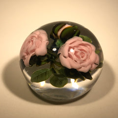 Katsumi Sakakibara Art Glass Paperweight Lampwork Pink Rose Bouquet