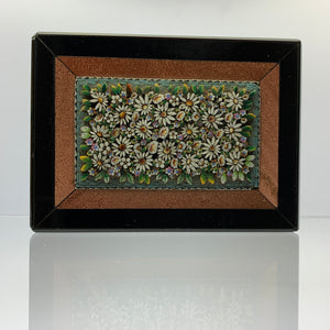 Antique Italian Floral Micro Mosaic Plaque with Aventurine Boarder